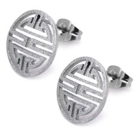 Inox 316L Stainless Steel Grecian Made Medallion Earrings