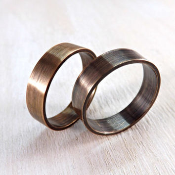 two bronze rings rustic wedding rings 4mm or 5mm wide ring band modern ring oxidized matte finish