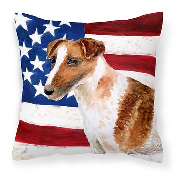 Smooth Fox Terrier Patriotic Fabric Decorative Pillow BB9647PW1414