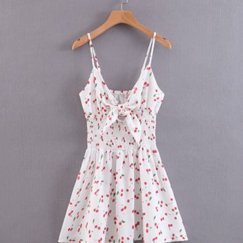 Summer new floral sling knotted V-neck waist dress