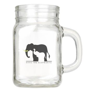 Save the Elephants Mason Jar