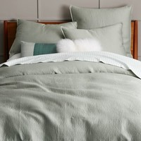 Organic Brighton Matelasse Duvet Cover + Shams - Light Sage