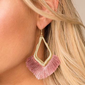 Mabel Mauve Tassel Earrings