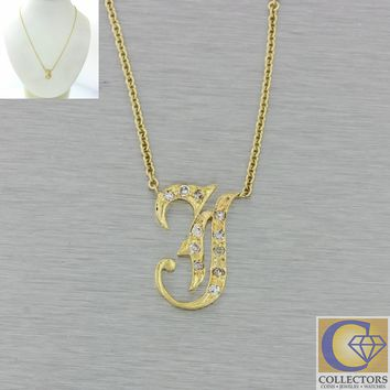 Antique Victorian 14k Gold Diamond J Initial Monogram Pendant Chain Necklace