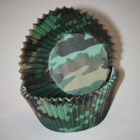 24 Camouflage Cupcake Liners, Army Green Baking cups, Boys Birthday Party, Party Cups, Army, Marine
