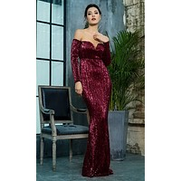 I'm A Mystery Wine Red Sequin Long Sleeve Off The Shoulder V Neck Trumpet Maxi Dress