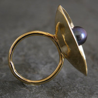 Gold Ring Gold Pearl RingCenter Stone RingGold by gazellejewelry