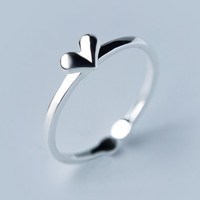 Fashion love heart 925 Sterling Silver opening ring , a perfect gift