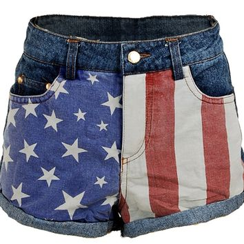 US USA American Flag Printed Low Rise Denim Jeans Women's Shorts Hot Pants