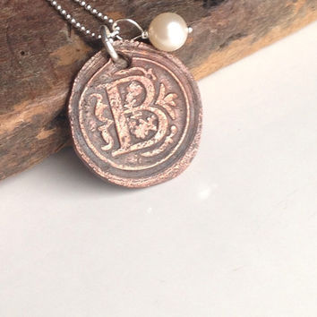 Etsy, Etsy Jewelry, Initial B, Copper Metal Clay, Kiln Fired, Initial Necklace, Monogram Necklace, Old World Style, Sterling Silver