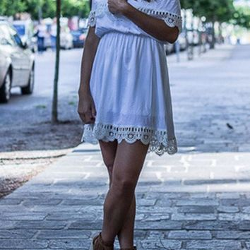 Streetstyle  Casual White Patchwork Lace Hollow-out Off-shoulder Peplum High Waisted Cute Mini Dress