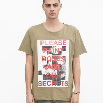 Painted Roses Tee in Light Olive