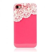 Hand Made Lace and Pearl Hot Pink Hard Case Cover for iPhone 4, 4G and 4S:Amazon:Cell Phones & Accessories