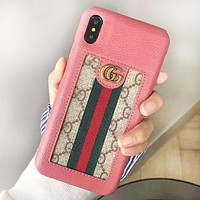 GUCCI Fashion New Stripe More Letter Leather Couple Personality Phone Case Protective Cover