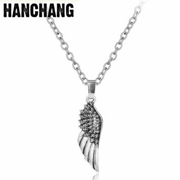 Vintage Men's Jewelry Supernatural Necklace Wing Pendant Necklace Charms Pendant Collier Colar for female