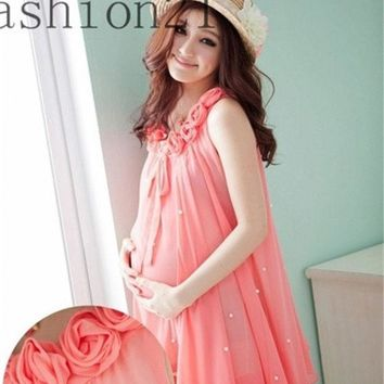 PEAPIX3 Rose Collar Sleeves Women Chiffon Maternity Dress for New Mommy = 1945710596