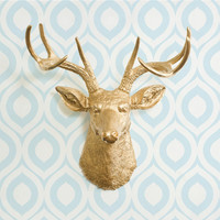 The Virginia in Gold - Faux Deer Head - Fake Animal Resin Ceramic Taxidermy Decorative Stag Antler Wall Mount Fauxidermy Replica Decor Buck
