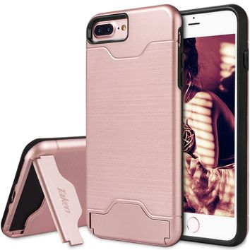 iphone 7 8 Plus Case Card Holder - for Apple 7 Plus Protective Case Credit Card Slot with KickStand Rugged Dual Layer Hybrid Wallet Shockproof Case Cover for Smartphone I7P 5.5 Inch Rose Gold
