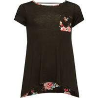Full Tilt Floral Back Girls Bar Back Pocket Tee Black  In Sizes