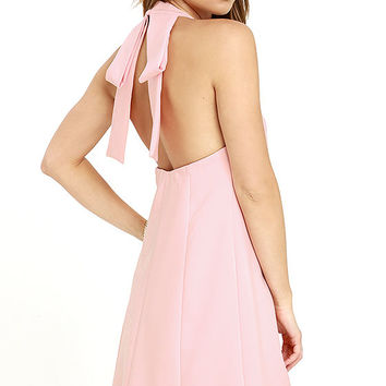 Viva La Vida Blush Pink Backless Swing Dress