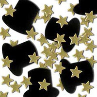 Beistle 50647-GD Fanci-Fetti Gold Top Hats and Mini Stars