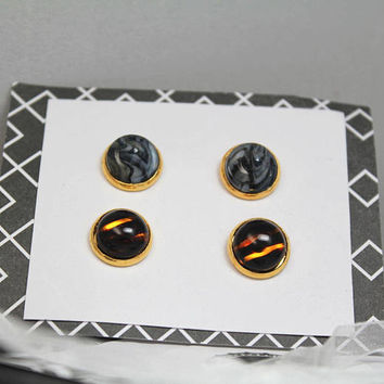 Tortoise Glass Stud Earring Set / Pointy Earrings / Edgy Stud Earrings / Tortoise Shell Jewelry / Tortoiseshell Studs / Grey Marble Studs /
