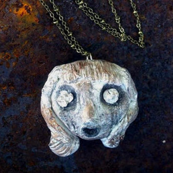 Aged Doll Head - Polymer Clay Necklace - Bronze Doll Face - Horror Pendant - Creepy Scary Jewelry
