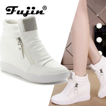 Fujin Brand winter platform wedge heel boots Women Shoes with increased platform sole female fashion casual zip botas