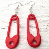 Unique red safety pin dangle earrings fashion accessory red plastic safety pins