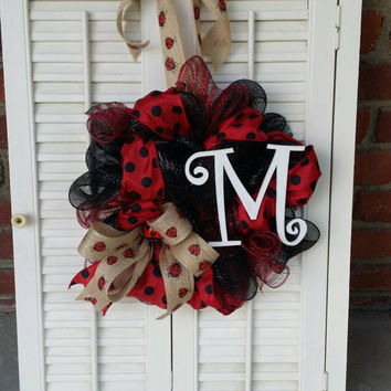 Ladybug Wreath Monogram Ladybug Burlap Ladybug Ribbon Nursery Wreath Red Black Dorm Wreath Graduation Gift Mother's Day Kitchen Wreath