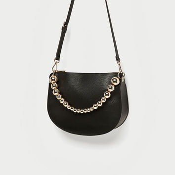 CROSSBODY BAG FEATURING HANDLE WITH METALLIC DETAIL DETAILS