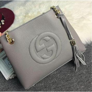 Gucci Fashion Ladies Shopping Bag Tassel Pure Color Leather Metal Chain Handbag Tote Shoulder Bag Grey