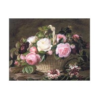A basket of pink and white and red roses canvas print