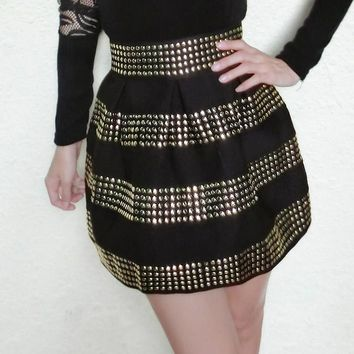 Adofeeno High Waist Rivet Skirt
