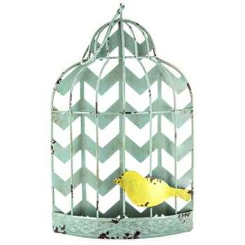 Turquoise Distressed Chevron Bird Cage Wall Decor | Hobby Lobby | 991232