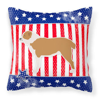 USA Patriotic Central Asian Shepherd Dog Fabric Decorative Pillow BB3328PW1414