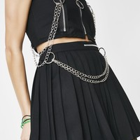 Black Pleated Chain Skirt