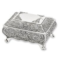 Antiqued Silver-plated Ornate Jewelry Box