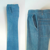Vintage Wide Leg Denim Jeans / 1960s 1970s High Waisted Jeans