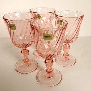 Pink Swirl Wine Glasses Rosaline Luminarc France