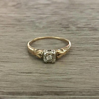 Antique Art Deco Diamond Ring in 14k White and Yellow Gold, Old Mine Diamond H SI1, 0.05 ct, Size US 6  (ring sizing available)