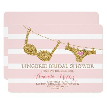 gold and pink lingerie bridal shower invitations
