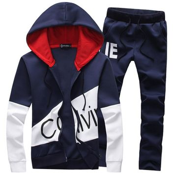 Casual sporting suit men warm hooded tracksuit