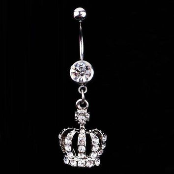 ac PEAPO2Q Charming Body Piercing Jewelry Crown Shaped Rhinestones Inlaid Navel Belly Button Ring Silver Plated Body-0164