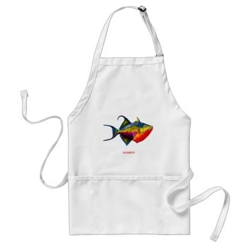 Psychedelic Colorful Triggerfish Fish Drawing Adult Apron