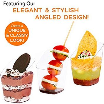 SimpleHomeCo. 3 oz Dessert Cups with Mini Spoons [100 Sets] - Premium Quality Clear Plastic Appetizer Bowls, Small Tasting & Fruit Parfait Glasses, Shooters, Tumblers, Disposable Catering Supplies