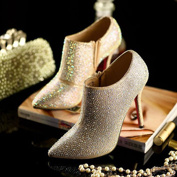 Women Gold Metal Cap Pointed Toe Pumps Rhinestone Pointed Toe High Heels Shoe Sequin Boots Booties Tb0295