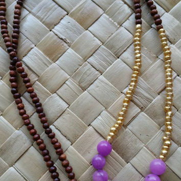 Long Beaded Tassel Necklace Purple Stone Bead Necklace Women's Long Boho Chic Necklace Purple and Gold Necklace Wood Bead Tassel Necklace
