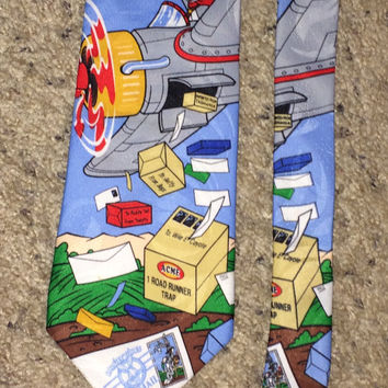 Sale!! Vintage LOONEY TUNES Stamp Collection 1997 UsPs Polyester Tie Retro Disney men's necktie Made in USA