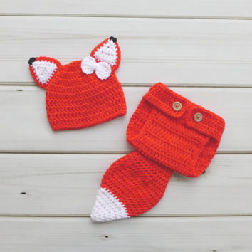 Crochet Fox Outfit, Fox Photo Prop, Baby Girl Outfit, Infant Outfit, Photography Prop, Baby Photo Prop, Baby Outfit, Baby Fox Set, Fox Hat